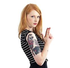Red Head Isolated on White Holding Hands in Shape of Gun Isolate