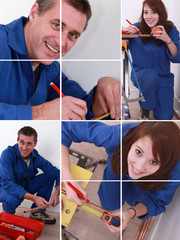 Male and female plumbers