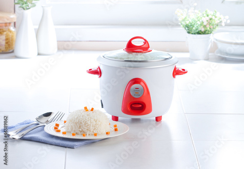 Electric rice cooking pot in the kitchen