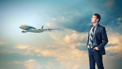 Business travelling collage with a plane
