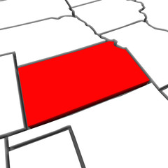 Kansas Red Abstract 3D State Map United States America