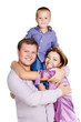 happy family with boy 3-4 years old hugging together isolated on