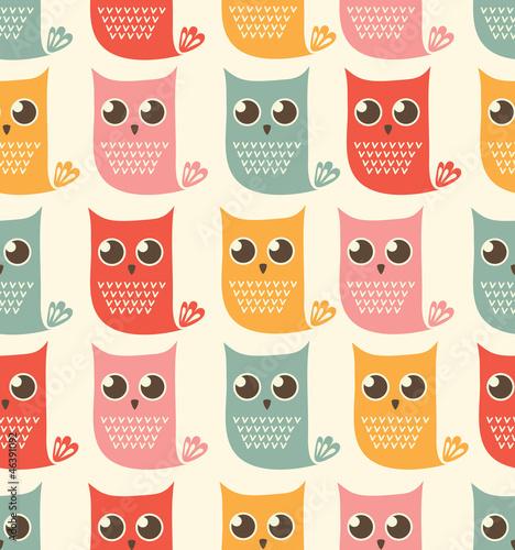 owls seamless patern - 46391092