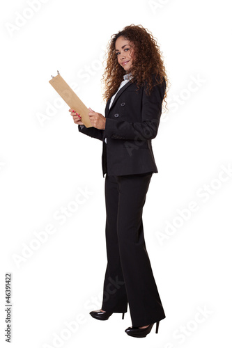 Woman standing with clip board isolated white background.