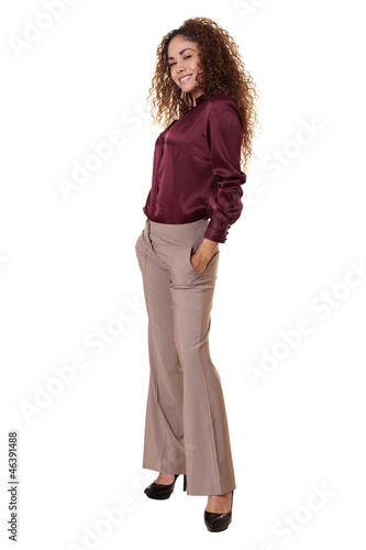 Latin woman standing isolated white background.