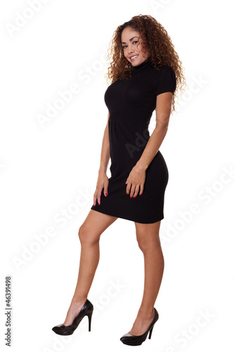 Business woman standing isolated white background.