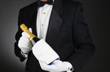 Sommelier with Champagne Bottle