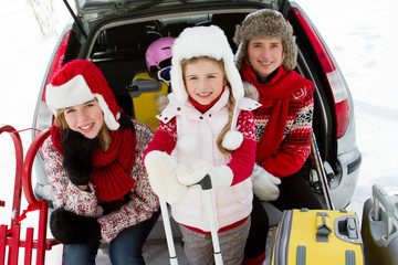 Family with baggage ready for the travel for winter holiday