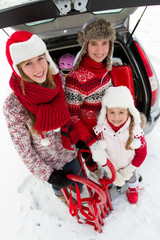 Winter travel, family ready for the travel for winter holiday