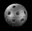 Silver floorball ball isolated on a black background