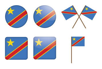 set of badges with flag of Democratic Republic of the Congo