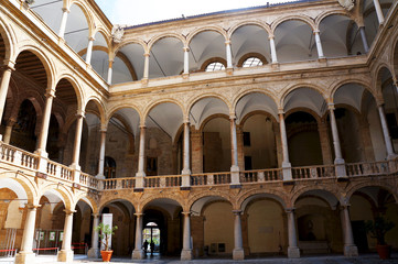 Arcade in the court of the Palace of Normans in Palermo,Sicily