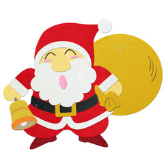 Rice paper cut Santa Claus carrying sack