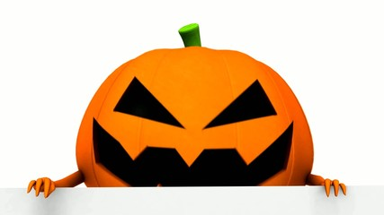 Halloween pumpkin with white board - 3d animation