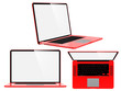 Set of Red Modern Laptops.
