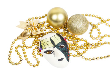 Holiday mask with christmas decorations