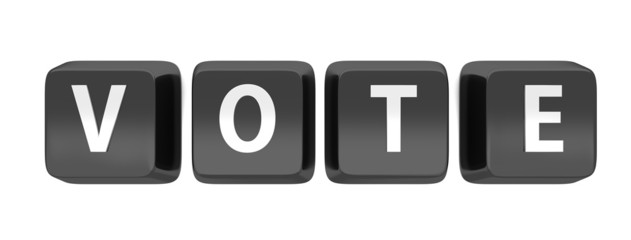 VOTE written in white on black computer keys
