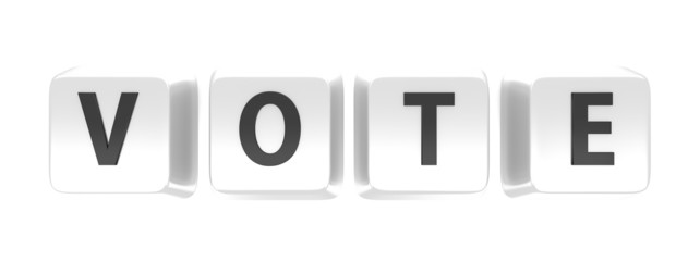 VOTE written in black on white computer keys