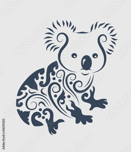 Aluminium Floral Ornament Koala tattoo design