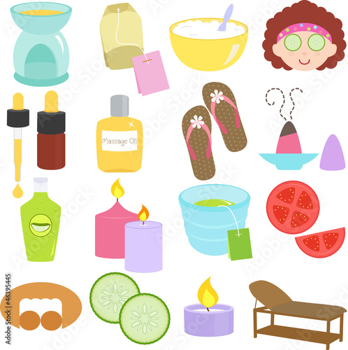 Beauty tools, Spa Icons, Relaxation, Massage in Pastel
