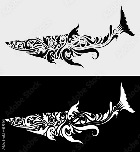 Aluminium Floral Ornament Shark ornament
