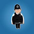 Cute british police officer character in everyday uniform