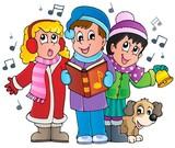 Fototapety Christmas carol singers theme 1