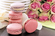 pink macaroons and roses