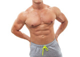 Muscular male torso Chest  Stomach of bodybuilder poster