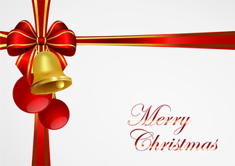 christmas background withgolden bell and red ribbon