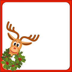 funny reindeer with wreath of holly