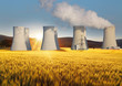 Nuclear power plant with yellow field and sun