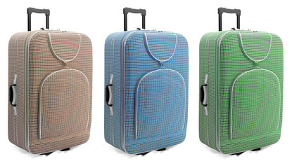 Pastel colours travel suitcases set - isolated