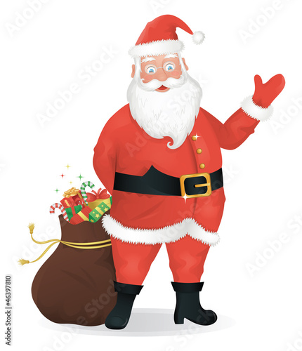 Santa Claus standing with a bag of presents and waving.
