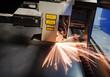 laser cutting CNC machine with metal sheet