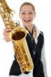 Junge Frau mit Saxophon