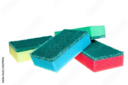 cleaning sponge isolated on white
