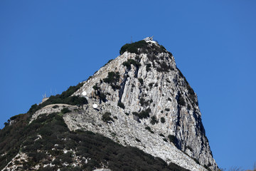 The rock of Gibraltar with a cannon on top