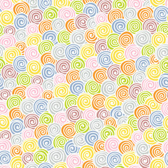 Seamless light abstract hand-drawn pattern with color spirals