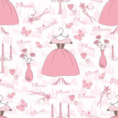 Seamless pattern with accessories of a princess