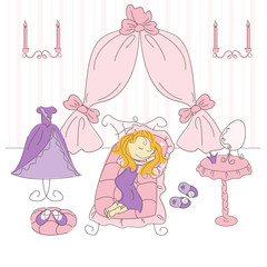 Vector illustration of a  princess bedroom