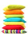 Leinwandbild Motiv Colorful pillows isolated on white