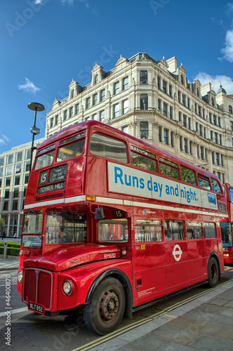 Poster LONDON, SEP 28: Red double decker bus speeds up on the streets o