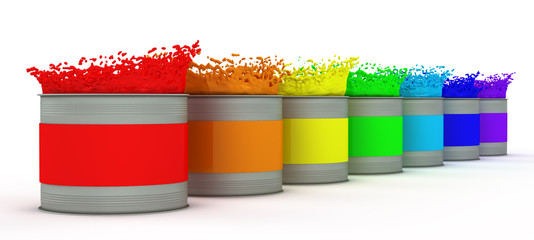 open paint cans with splashes of rainbow colors
