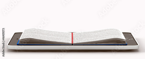 deployed book inside the phone. isolated on white background
