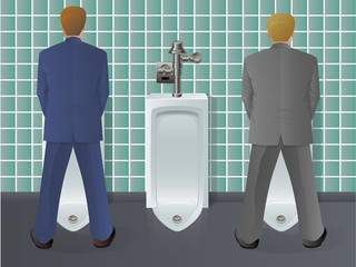 Men Using Urinal
