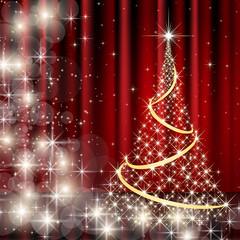 ベクター、星のクリスマスツリーと赤いカーテンの背景
