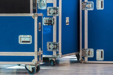 Group of blue flight cases