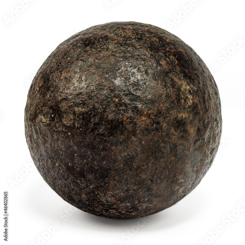 Genuine 18th century cannonball isolated on white