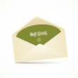 Envelope and green card merry christmas, vector